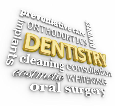 odontologa: Odontología 3d palabra collage con términos implantes, limpieza, cosmética, bacaladilla, ortodoncia, atención preventiva y dentaduras