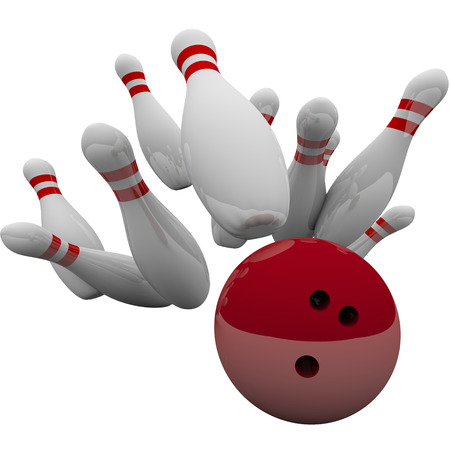 Event: Red bowling ball striking pins in 3d isolation to illustrate winning game, success, victory and achievement Stock Photo
