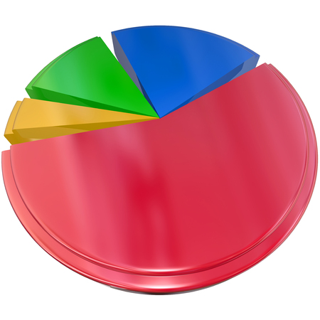 3d isolated pie chart to illustrate results, data and answers from market research, intelligence or insights