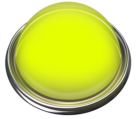 attention grabbing: Yellow round 3d isolated button or light to catch or grab attention with a message or advertisement Stock Photo
