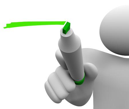 comunicarse: Hombre 3d aislado o persona con marcador verde o un bolígrafo subrayado o escribiendo a compartir o comunicar un mensaje Foto de archivo