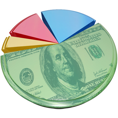 deduct: Hundred dollar bill money on a 3d isolated pie chart to illustrate profit margin or percent share of cost or revenue Stock Photo