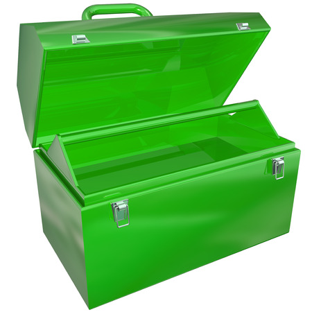 toolbox: Green metal open toolbox that is empty and ready to store tools for your projects or work Stock Photo