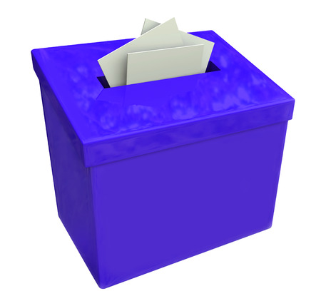 submitting: Blue suggestion box isolated for collecting ideas, comments and feedback Stock Photo