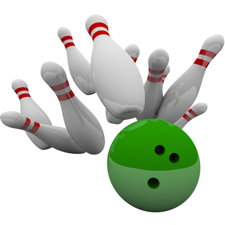striking: Green bowling ball striking pins in 3d isolation to illustrate winning game, success, victory and achievement