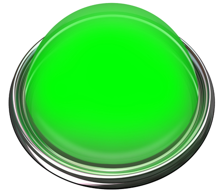 attention grabbing: Green round 3d isolated button or light to catch or grab attention with a message or advertisement