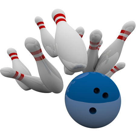 striking: Blue bowling ball striking pins in 3d isolation to illustrate winning game, success, victory and achievement