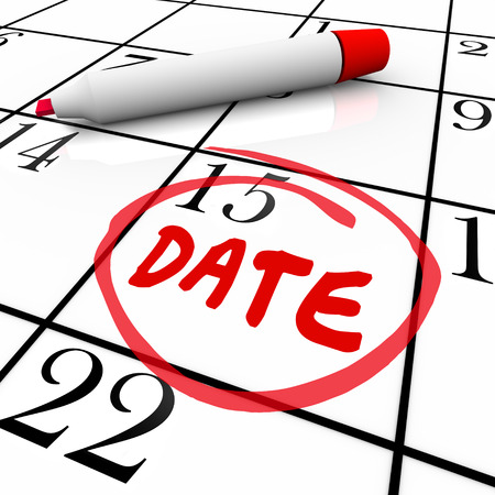 liaison: Date word circled on a calendar day to illustrate a romantic rendezvous