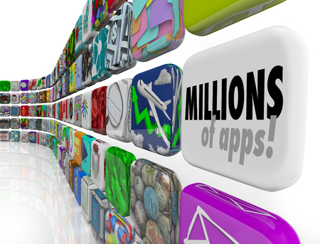 millions: Millions of Apps words on software, program or application tiles in a download store or marketplace