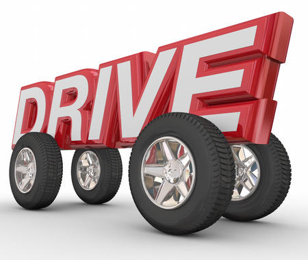 propel: Drive word in red 3d letters with wheels to illustrate traveling by car, vehicle or automobile on a road Stock Photo