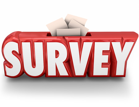 tabulation: Survey word in red 3d letters and answers, responses or feedback submitted