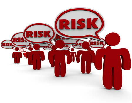 people problems: Risk word in speech bubbles over red people illustrating dangerous, liability or security problems