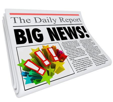 alerta: Gran titular de noticias en el periódico como el anuncio de información urgente o importante o una alerta de comunicación vital o actualización