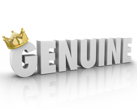 authoritative: Genuine word in 3d white letters with gold crown to illustrate something is authentic, original, true, sincere or official Stock Photo