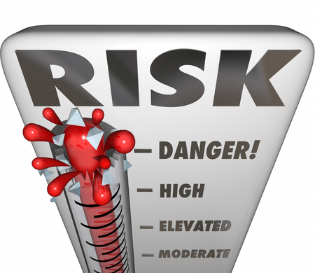 scrutiny: Risk word on thermometer to measure or assess your level of danger, liability and exposure to hazard Stock Photo