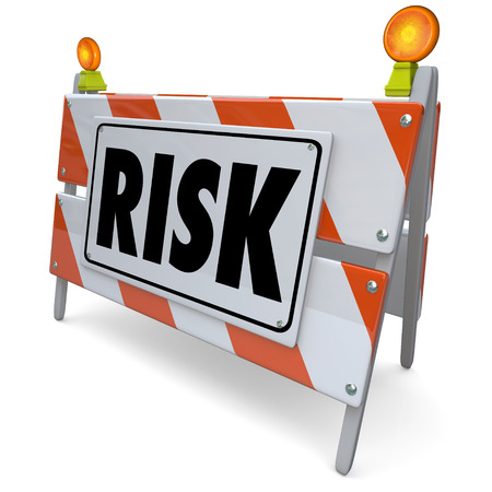 mitigate: Risk word on a barrier, barricade or construction sign to illustrate danger, liability, hazard and warning