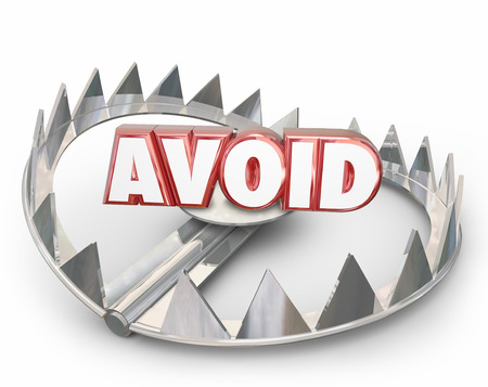 avoid: Avoid red 3d word on a steel bear trap warning you to stay away from dangerous hazard or obstacle Stock Photo