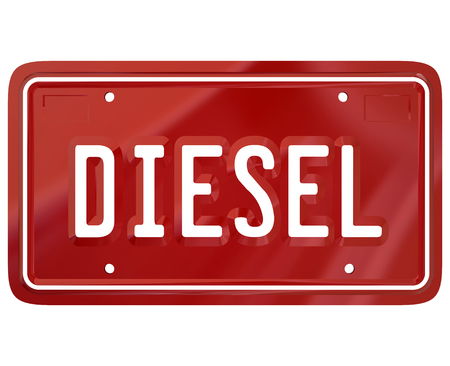 petrol powered: Diesel word on a red car, auto or vehicle license plate to illustrate an alternative fuel gas powered automobile Stock Photo