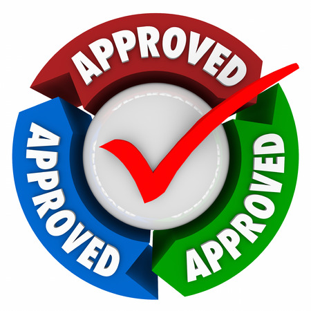 certifying: Approved word on arrows around a red check mark to illustrate official approval, rating, assessment, certification or endorsement