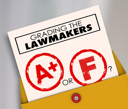 legislators: Grading the Lawmakers words on a report card to evaluate the effectiveness of elected officials, legislators or politicians Stock Photo