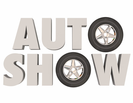 unveil: Auto Show words in white 3d letters with wheels and tires in place of letter O, to illustrate, advertise or promote a car or vehicle trade show, event or exhibition