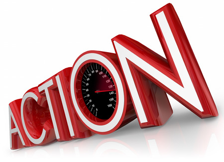 fueled: Action 3d red word with speedometer to illustrate quick proactive effort