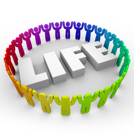 a serene life: Life word in 3d letters surrounded by people of different and diverse colors and races living in peace and harmony in celebration of community and society Stock Photo
