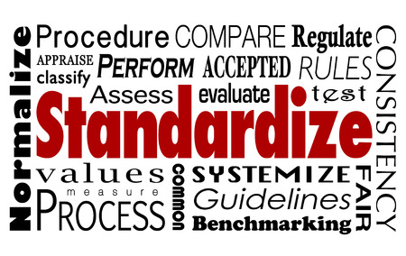Standardize word collage regulate measure performance or quality