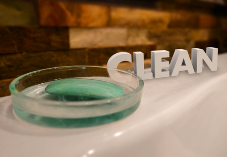 cleansed: Clean 3d word beside soap in dish on a tub ledge telling you to wash up and get cleansed for hygiene and good health