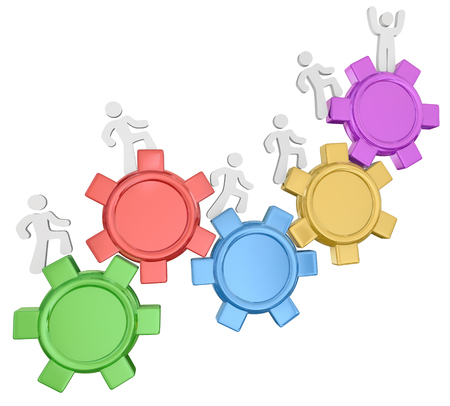 3d people climbing gears to reach the top, achieve success, finish or complete a goal