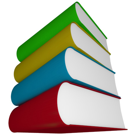 textbooks: Four books, novels, manuals or textbooks piled or stacked and isolated