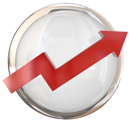 easy going: Red arrow on a white shiny round button to illustrate growth, increase or movement up or forward