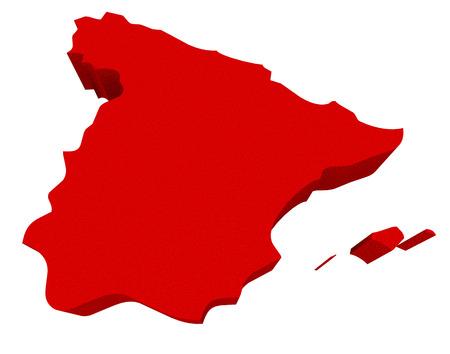 conceptual maps: Francia como un rojo 3d ilustra un mapa resumen en Europa