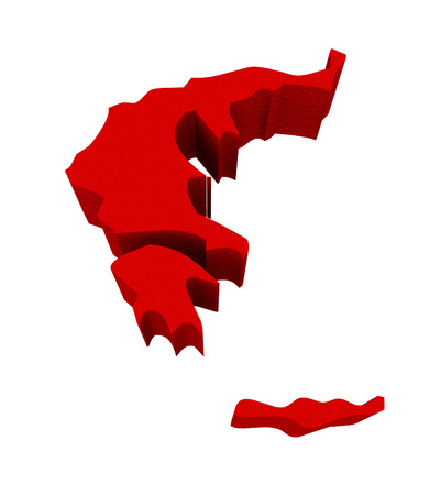 illustrated: Greece as a red 3d illustrated abstract map in Europe