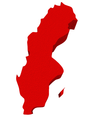 illustrated: Sweden as a red 3d illustrated abstract map in Europe
