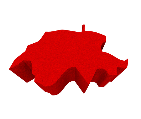 illustrated: Switzerland as a red 3d illustrated abstract map in Europe