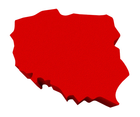 illustrated: Poland as a red 3d illustrated abstract map in Europe