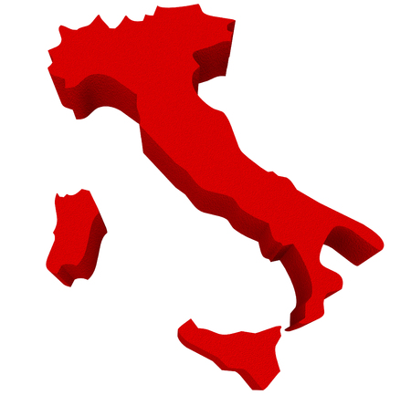 illustrated: Italy as a red 3d illustrated abstract map in Europe Stock Photo