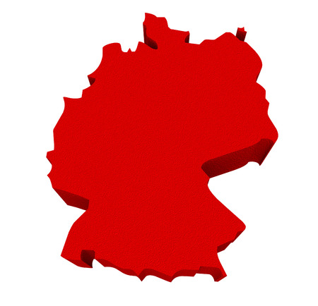 illustrated: Germany as a red 3d illustrated abstract map in Europe