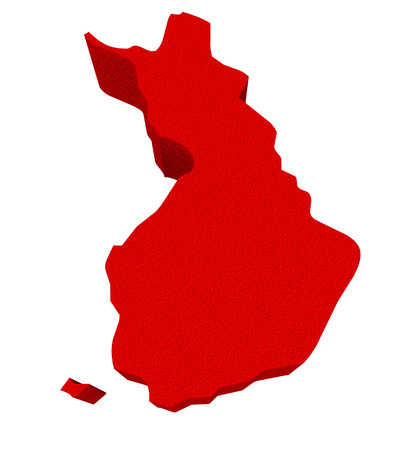 illustrated: Finland as a red 3d illustrated abstract map in Europe Stock Photo