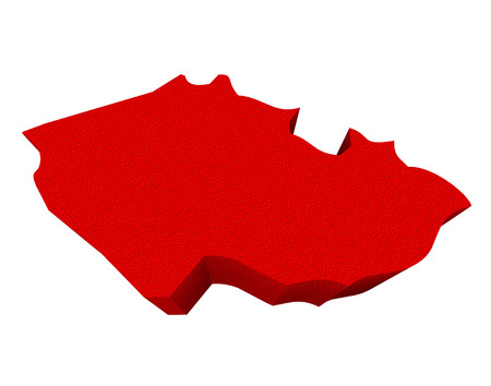 illustrated: Czech Republic as a red 3d illustrated abstract map in Europe