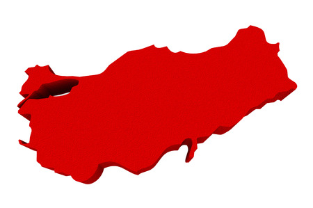 illustrated: Turkey as a red 3d illustrated abstract map in Europe and Asia Stock Photo
