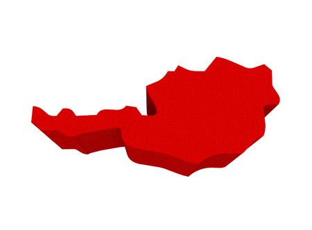 conceptual maps: Austria como rojo 3d ilustra un mapa resumen en Europa Foto de archivo