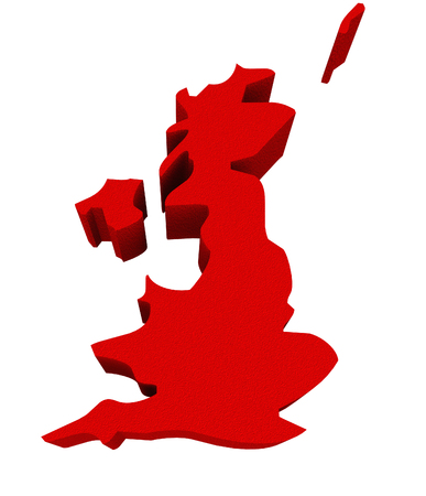 illustrated: UK United Kingdom England Great Britain as a red 3d illustrated abstract map in Europe