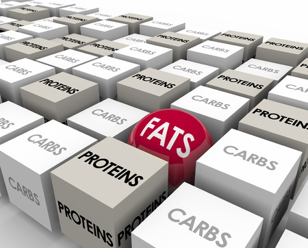 risky behavior: Fats word on a sphere or ball among cubes marked Carbs and Proteins to illustrate the three types of calories and cutting bad food sources to lose weight Stock Photo