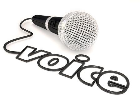Mot voix dans un cordon de microphone pour illustrer le chant, la parole en public ou stand-up comedy ou d'effectuer à un spectacle de talents ou de la concurrence