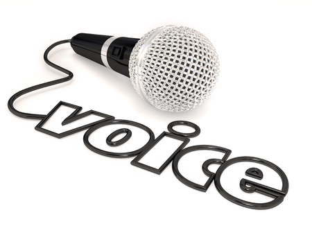 microphone: Voice word in a microphone cord to illustrate singing, public speaking or stand-up comedy or performing at a talent show or competition