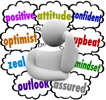 thought clouds: Positive attitude words in thought clouds around a thinker or thinking person including optimist, outlook, upbeat and mindset
