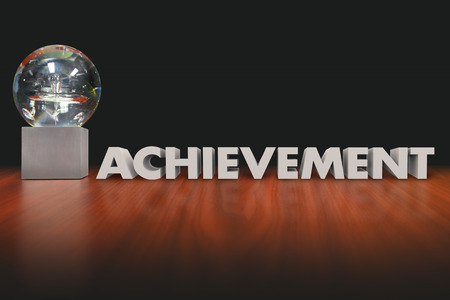 Achievement word in 3d letters beside an award, trophy or prize given to employee, worker, athlete or performer after a great result Фото со стока