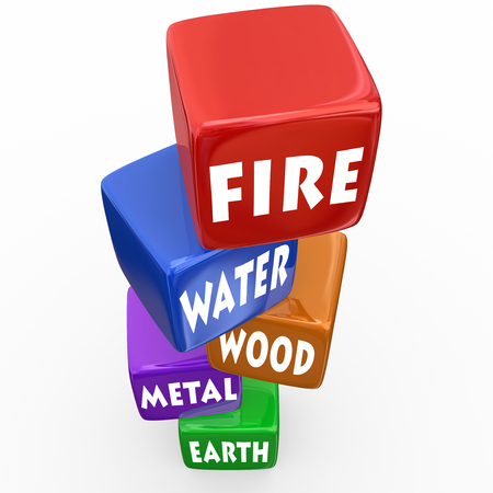 xing: Five elements of Wu Xing traditional Chinese philosophy with words on blocks — fire, water, wood, metal and earth
